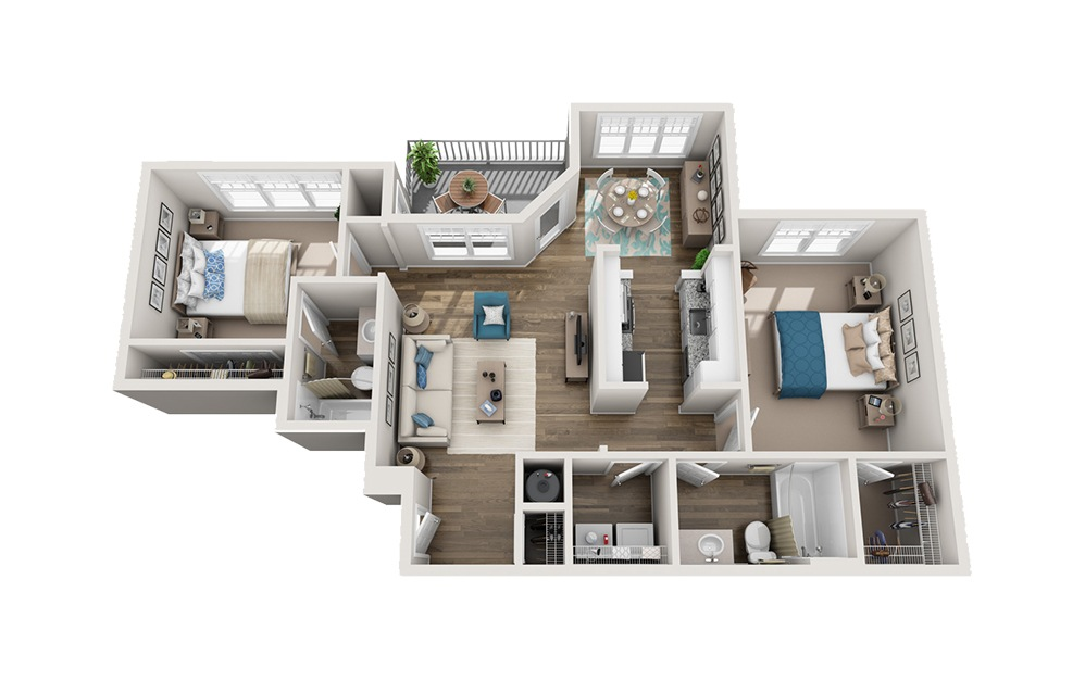 Ramblewood - 2 bedroom floorplan layout with 2 baths and 957 square feet.