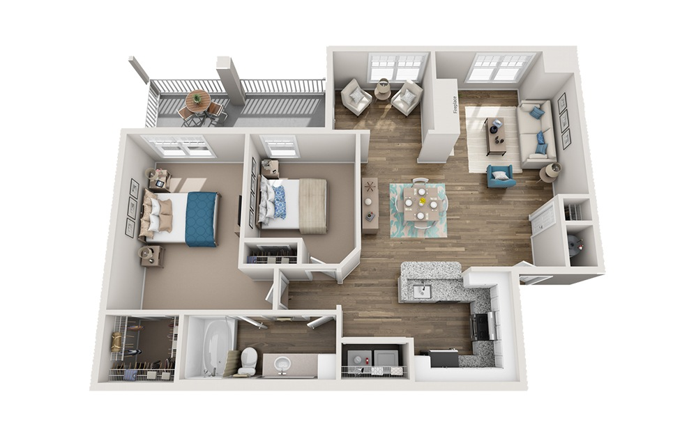 Pisgah - 2 bedroom floorplan layout with 1 bath and 1133 square feet.