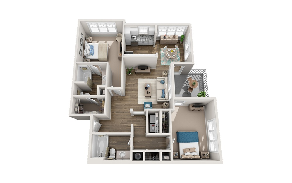 Olmsted	 - 2 bedroom floorplan layout with 2 baths and 1101 square feet.