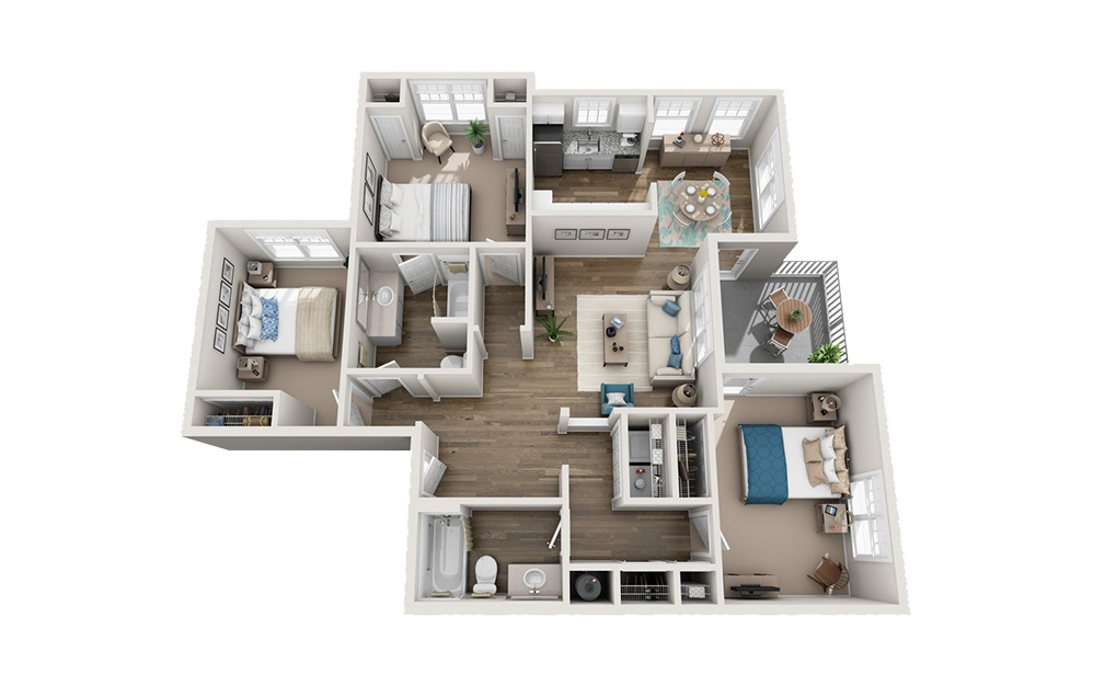 Montford - 3 bedroom floorplan layout with 2 baths and 1244 square feet.