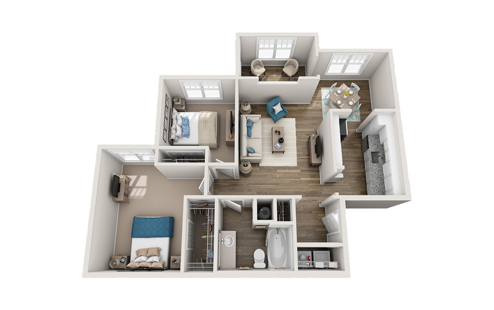 Merrimon - 2 bedroom floorplan layout with 1 bath and 1035 square feet.