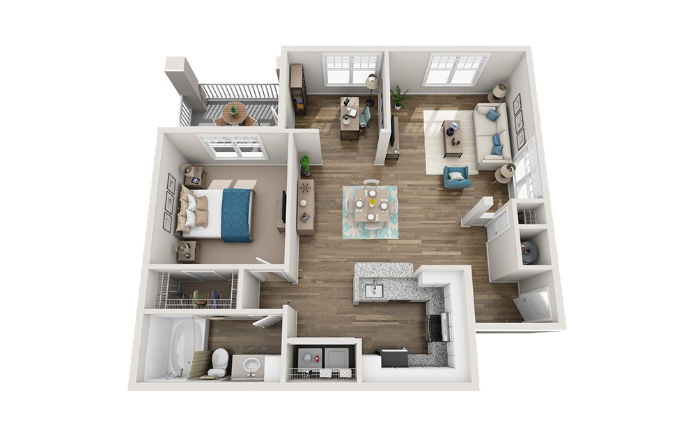 Larchmont - 1 bedroom floorplan layout with 1 bath and 987 square feet.