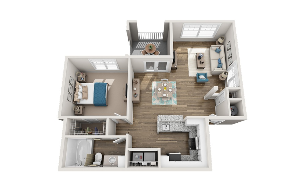 Commodore - 1 bedroom floorplan layout with 1 bath and 882 square feet.