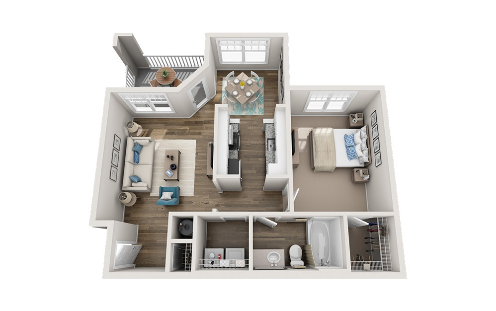Buncombe - 1 bedroom floorplan layout with 1 bath and 745 square feet.