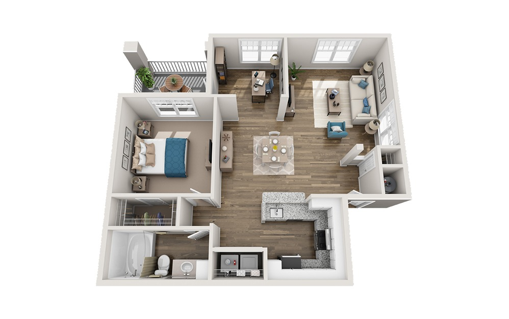 Ashworth - 1 bedroom floorplan layout with 1 bath and 944 square feet.